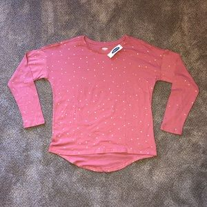 Other - A pink long sleeved shirt with gold polkadots.